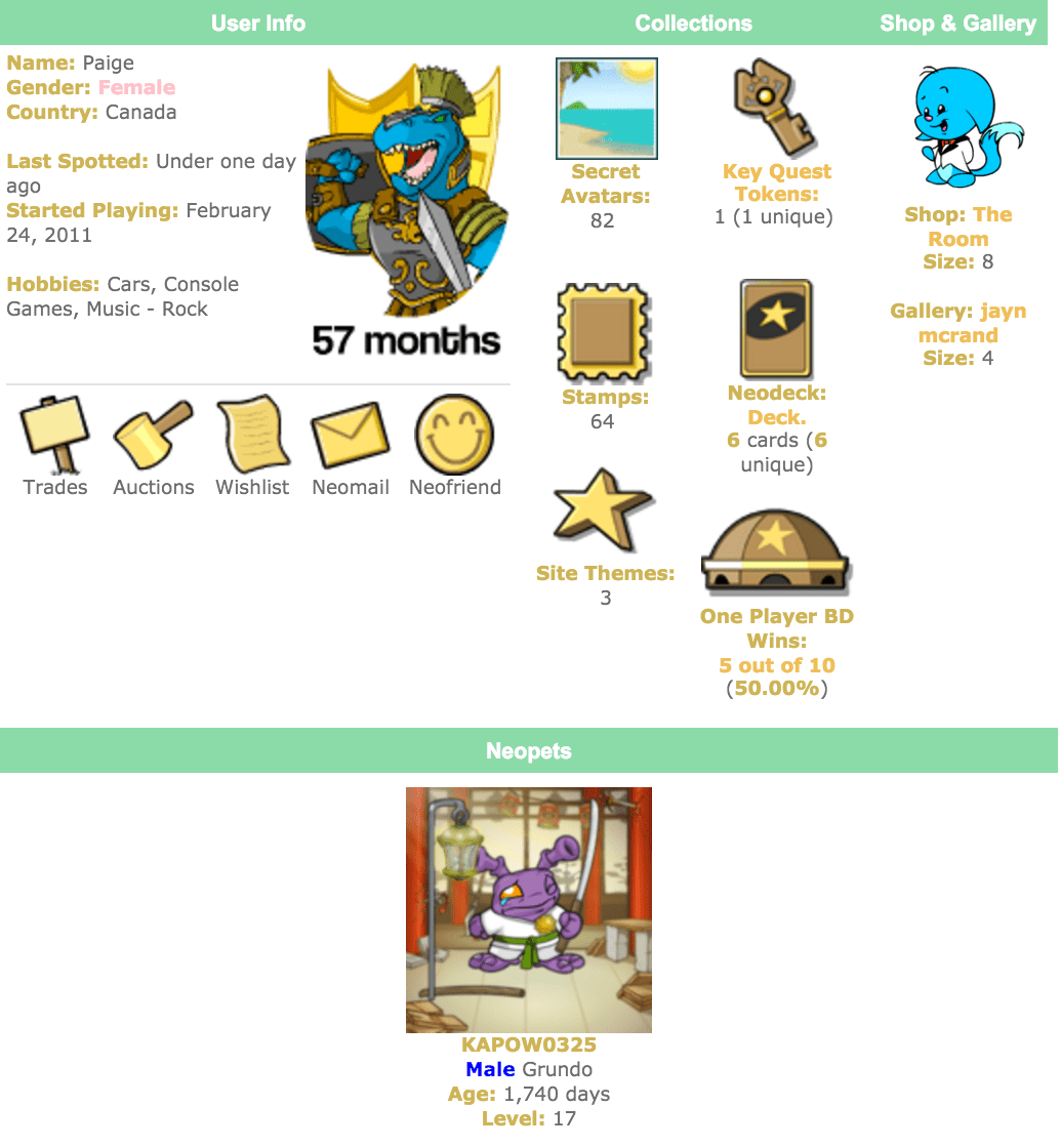 neopets profile