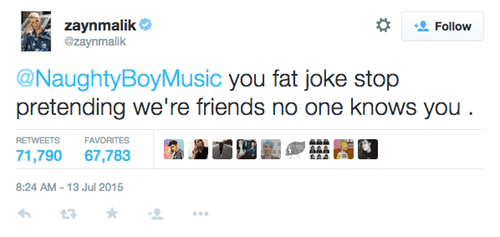Zayn Malik tweet at Naughty Boy // PaigeBackstage.com