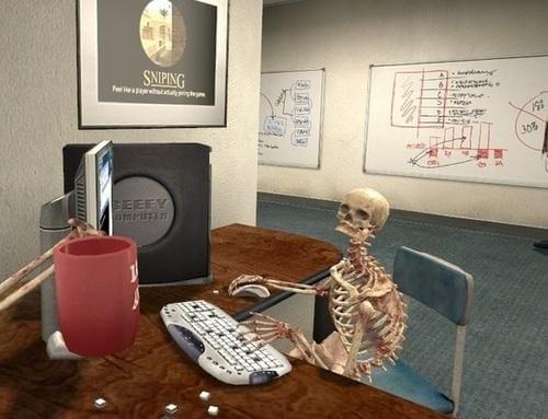 skeleton on computer