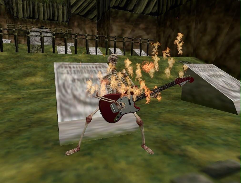 skeleton playing burning guitar in karariko village graveyard