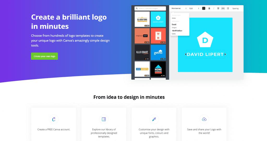 Canva Logo Maker website screenshot